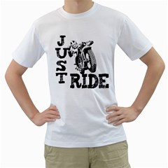 Black Just Ride Motorcycles Men s T Shirt (white)