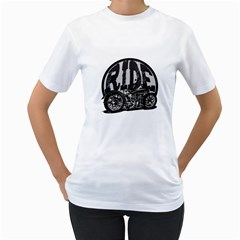 Ride Vintage Motorcycles Women s T-Shirt (White) (Two Sided)