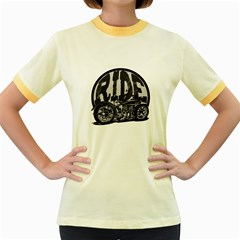 Ride Vintage Motorcycles Women s Fitted Ringer T-Shirt
