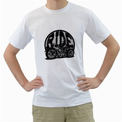 Ride Vintage Motorcycles Men s T-Shirt (White) (Two Sided)