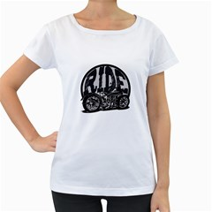 Ride Vintage Motorcycles Women s Loose Fit T Shirt (white)