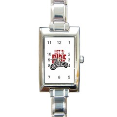 Red Text Let s Ride Motorcycle Rectangular Italian Charm Watch