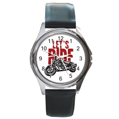Red Text Let s Ride Motorcycle Round Metal Watch