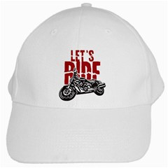 Red Text Let s Ride Motorcycle White Cap