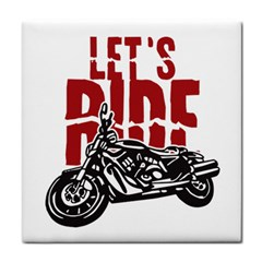 Red Text Let s Ride Motorcycle Tile Coaster