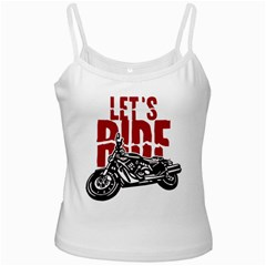 Red Text Let s Ride Motorcycle White Spaghetti Tank