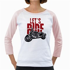 Red Text Let s Ride Motorcycle Girly Raglan