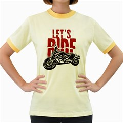 Red Text Let s Ride Motorcycle Women s Fitted Ringer T Shirt