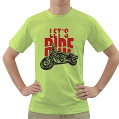 Red Text Let s Ride Motorcycle Green T-Shirt