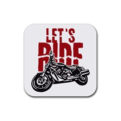 Red Text Let s Ride Motorcycle Rubber Coaster (Square)