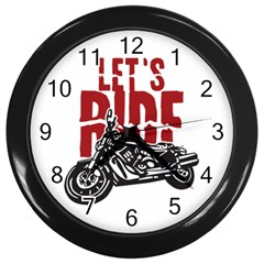 Red Text Let s Ride Motorcycle Wall Clock (Black)