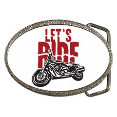 Red Text Let s Ride Motorcycle Belt Buckle