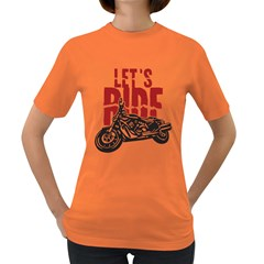 Red Text Let s Ride Motorcycle Women s Dark T-Shirt