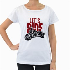 Red Text Let s Ride Motorcycle Women s Loose-Fit T-Shirt (White)