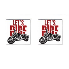 Red Text Let s Ride Motorcycle Cufflinks (Square)