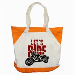 Red Text Let s Ride Motorcycle Accent Tote Bag