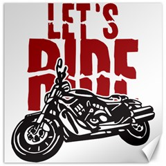 Red Text Let s Ride Motorcycle Canvas 16  x 16