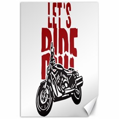 Red Text Let s Ride Motorcycle Canvas 20  x 30