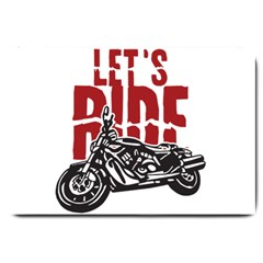 Red Text Let s Ride Motorcycle Large Doormat