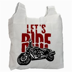 Red Text Let s Ride Motorcycle Recycle Bag (One Side)