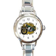 Vintage Style Motorcycle Round Italian Charm Watch