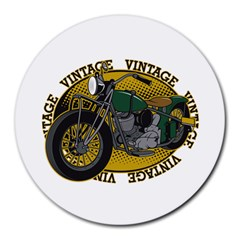 Vintage Style Motorcycle Round Mousepad