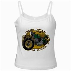 Vintage Style Motorcycle White Spaghetti Tank