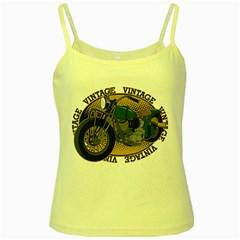 Vintage Style Motorcycle Yellow Spaghetti Tank