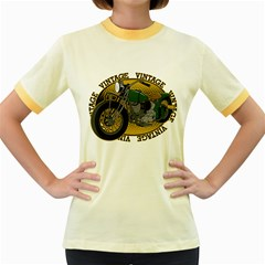 Vintage Style Motorcycle Women s Fitted Ringer T-Shirt