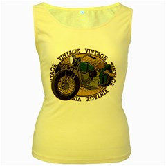 Vintage Style Motorcycle Women s Yellow Tank Top