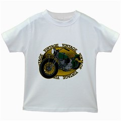Vintage Style Motorcycle Kids White T-Shirt