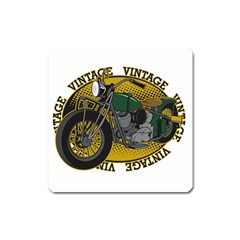 Vintage Style Motorcycle Magnet (Square)