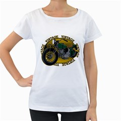 Vintage Style Motorcycle Women s Loose Fit T Shirt (white)
