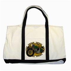 Vintage Style Motorcycle Two Tone Tote Bag