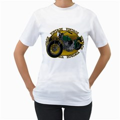 Vintage Style Motorcycle Women s T-Shirt (White)