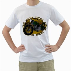 Vintage Style Motorcycle Men s T-Shirt (White)