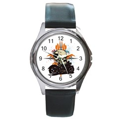 Skull Classic Motorcycle Round Metal Watch