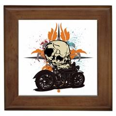 Skull Classic Motorcycle Framed Tile