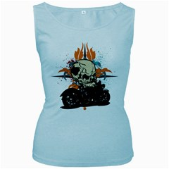 Skull Classic Motorcycle Women s Baby Blue Tank Top