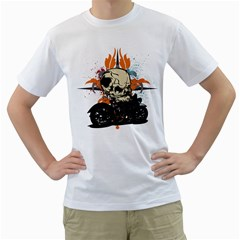 Skull Classic Motorcycle Men s T-Shirt (White) (Two Sided)