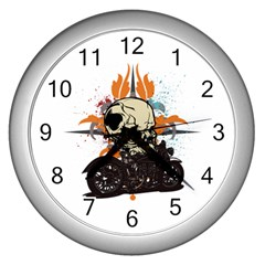 Skull Classic Motorcycle Wall Clock (Silver)
