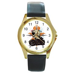 Skull Classic Motorcycle Round Gold Metal Watch