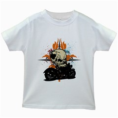 Skull Classic Motorcycle Kids White T-Shirt