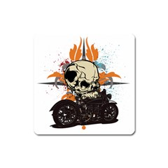 Skull Classic Motorcycle Magnet (Square)