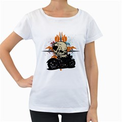 Skull Classic Motorcycle Women s Loose-Fit T-Shirt (White)
