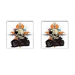 Skull Classic Motorcycle Cufflinks (Square)