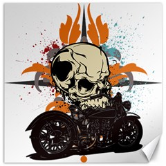 Skull Classic Motorcycle Canvas 16  X 16