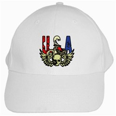 USA Classic Motorcycle Skull Wings White Cap