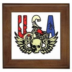 USA Classic Motorcycle Skull Wings Framed Tile