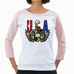 Usa Classic Motorcycle Skull Wings Girly Raglan
